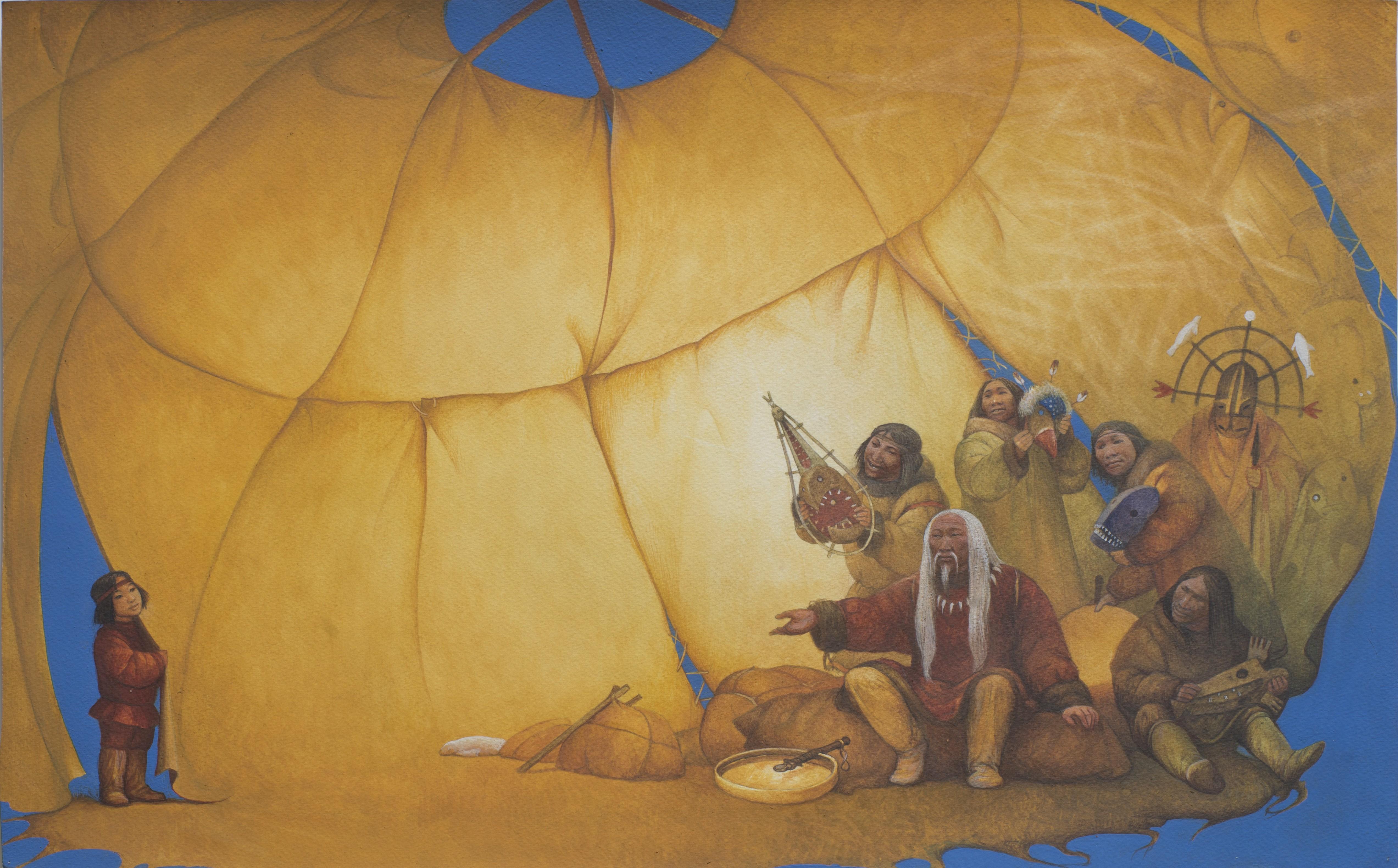 Азат Миннекаев. Таграк. Иллюстрация к эскимосской легенде. 2007. Бумага, темпера, акварель. 37,5х55,5 см. Коллекция Фонда Марджани.jpg