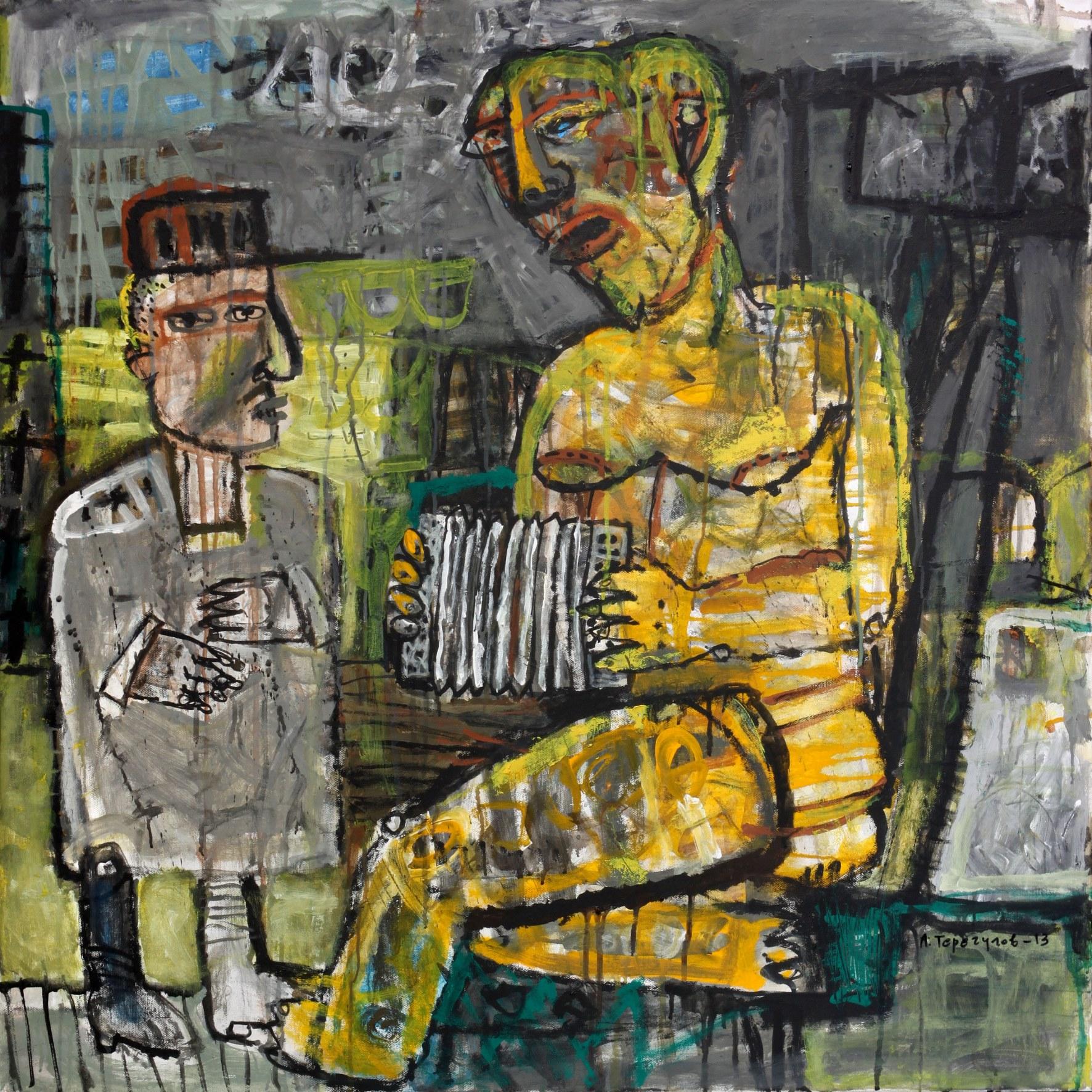 Айрат Терегулов. Позолоченная гармонистка делает джаз Шарлю. 2013. Холст, акрил. 100х100.jpg