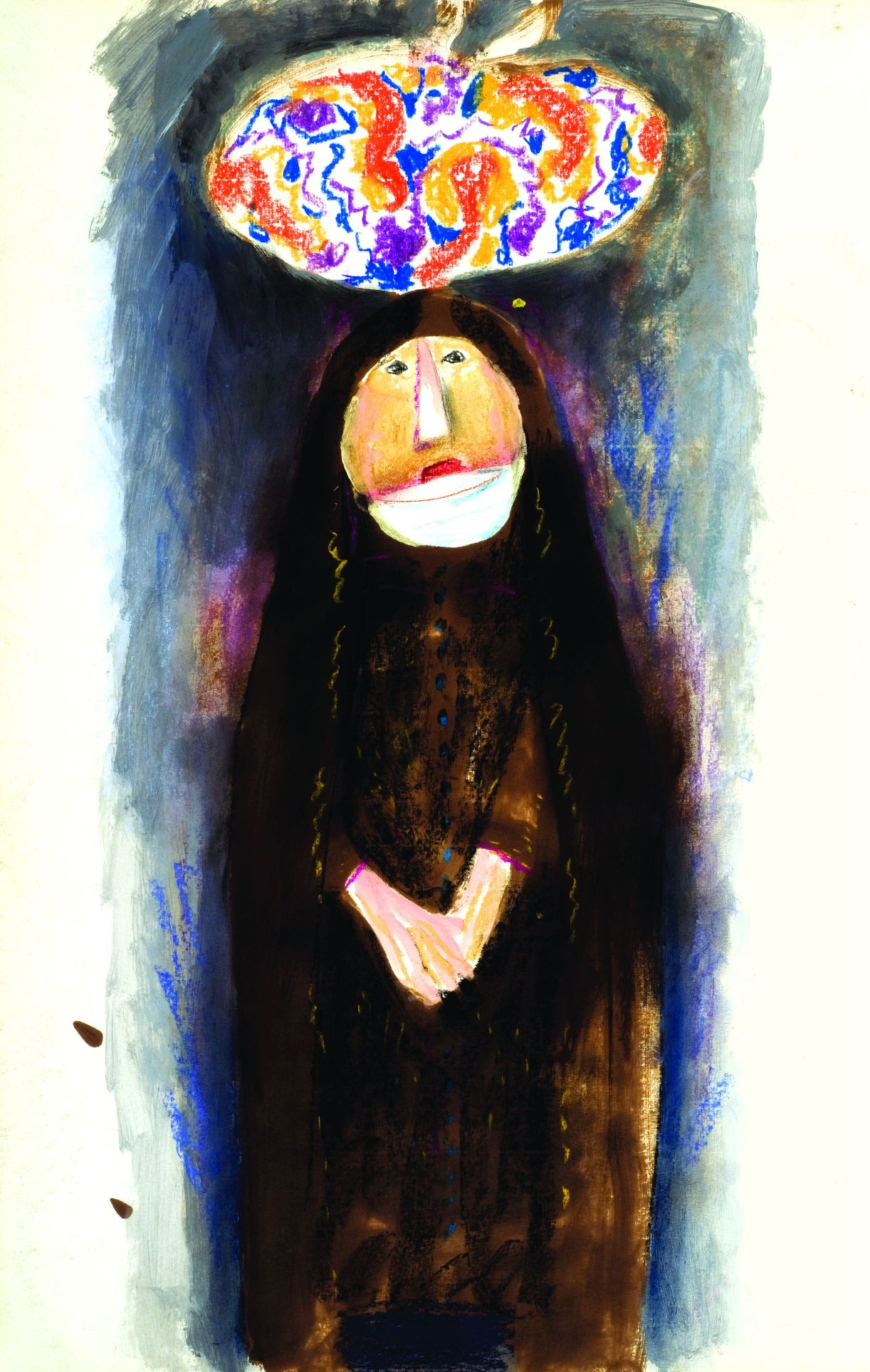 Женщина с узелком. 1997 г. Бумага, нуашь, пастель. Фонд Марджани.jpg