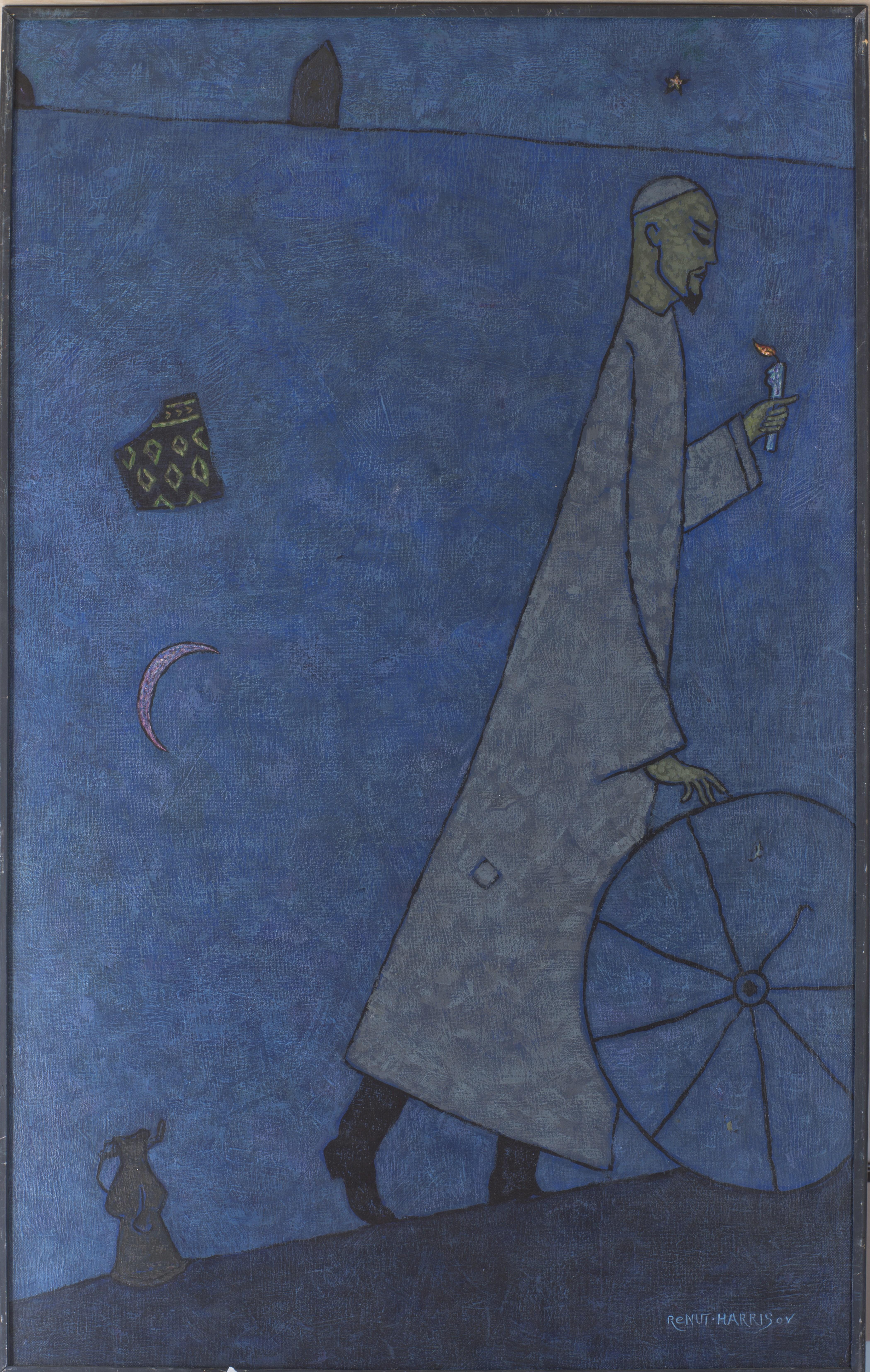 Ринат Харисов. Идущий ночью. Посвящение Акмулле. 2008. Холст, акрил. 130х81. Коллекция Фонда Марджани.jpg