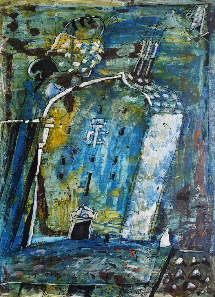 Эдуард Путерброт. Из серии Проповедь. 1991 г. Картон, смешанная техника. 67х49 см Собственность Антона Путерброта.jpg