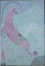 Ринат Харисов Розовый конь 1996 Холст, масло 130х89 Коллекция Фонда Марджани