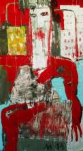 Игорь Литвинов Город солнца, 2014 г.  гофракартон, клей, эмаль, акрил на картоне  140х77
