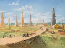 Урманче Б.И. Ишимбаево. Нефтепромыслы 1936 г. Х., м.  100х134