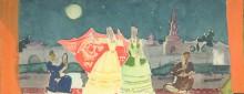 Урманче Б.И. Эскиз к панно.  1960-е (?) Б., гуашь 43х16,5 см